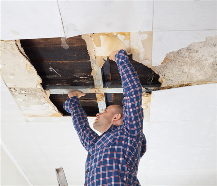 Picture shows a man on ladder looking at a water damaged ceiling.